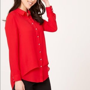 NWT Laura Tunic Button Down Red Crepe Blouse Sz 14